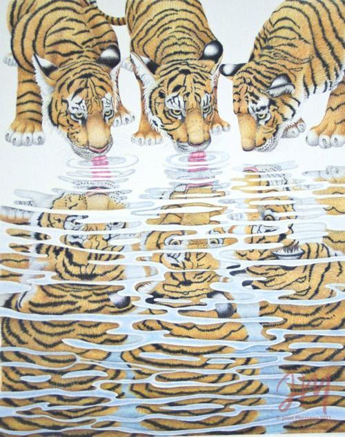 "Janet Matthews wildlife artworkTiger Cubs ""At the waterhole"""